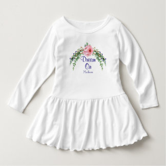 Personalized Dream On Floral Greenery Swag Dress