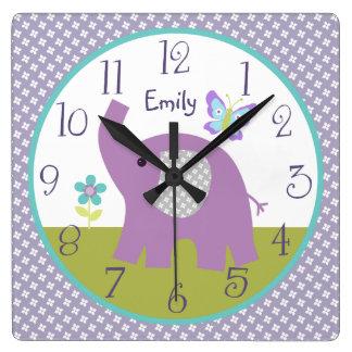 Personalized Dreamland Elephant Nursery Clock