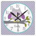 Personalized Dreamland Owl Nursery Clock