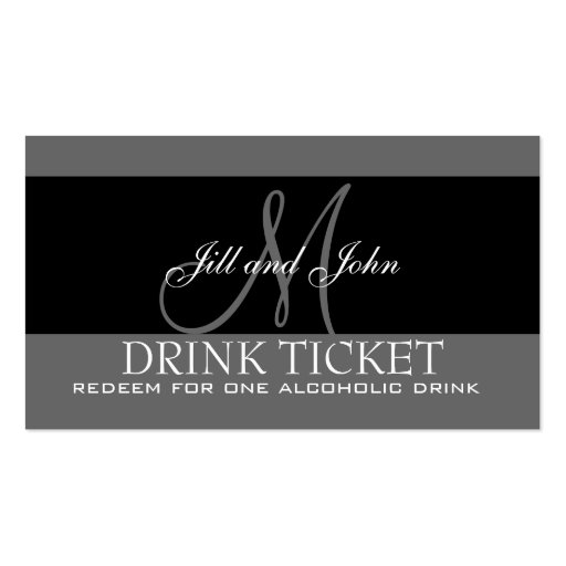 Personalized Drink Ticket for Wedding Reception Business Card