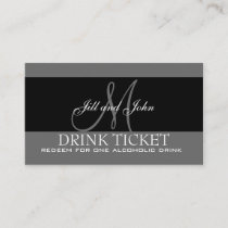 Personalized Drink Ticket for Wedding Reception Enclosure Card