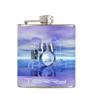 Personalized Drums on the Beach Music Flask