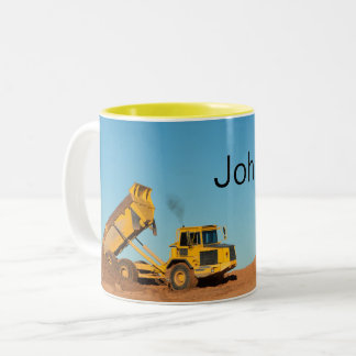 Personalized Dump Truck Two-Tone Coffee Mug