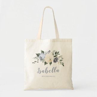 Personalized dusty blue floral bridesmaid tote bag