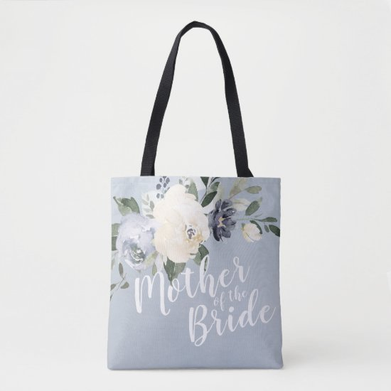 Personalized dusty blue floral mother of the bride tote bag