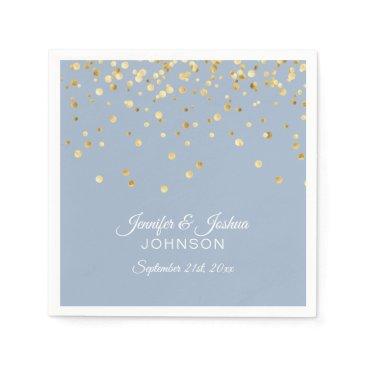 Wedding Themed Personalized Dusty BLUE Gold Confetti Wedding Napkin