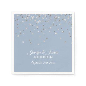 Wedding Themed Personalized Dusty BLUE Silver Confetti Wedding Napkin