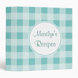 Personalized Dusty Gingham Recipe Binder
