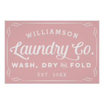 Personalized Dusty Rose Laundry Wash Dry Fold Sign