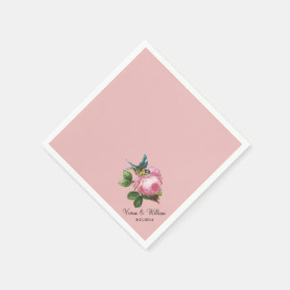 Personalized Dusty Rose Wedding Napkins Standard Cocktail Napkin