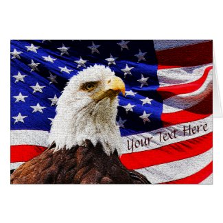 Personalized Eagle Flag Patriotic Greeting Cards