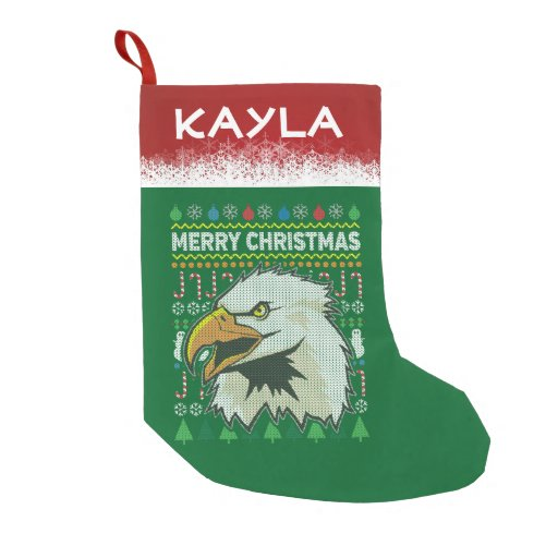 Personalized Eagle Wildlife Christmas Sweater Small Christmas Stocking