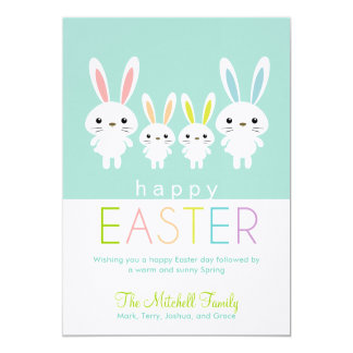 Personalized Easter Bunnies Greeting Card