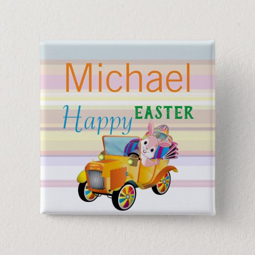 Personalized Easter Bunny Car Name Tag Pinback Button