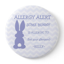 Personalized Easter Bunny Food Allergy Alert Pinback Button