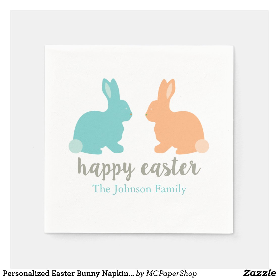 Personalized Easter Bunny Napkins Blue