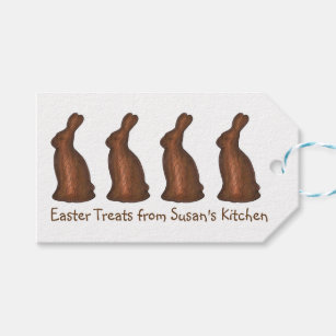 Bunny chocolate gift tags zazzle personalized easter candy chocolate bunny gift tag negle Image collections