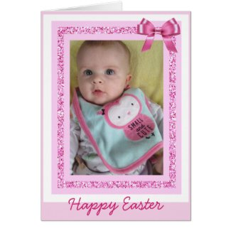 Personalized Easter Card, Add Baby Photo Cute Pink