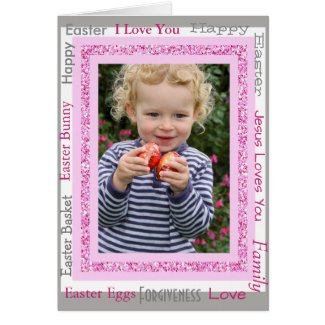 Personalized Easter Card, Add Photo Cute Pink