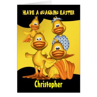 Personalized Easter Card With Fun Ducks, Quacking