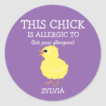 Personalized Easter Chick Allergy Alert Purple Classic Round Sticker