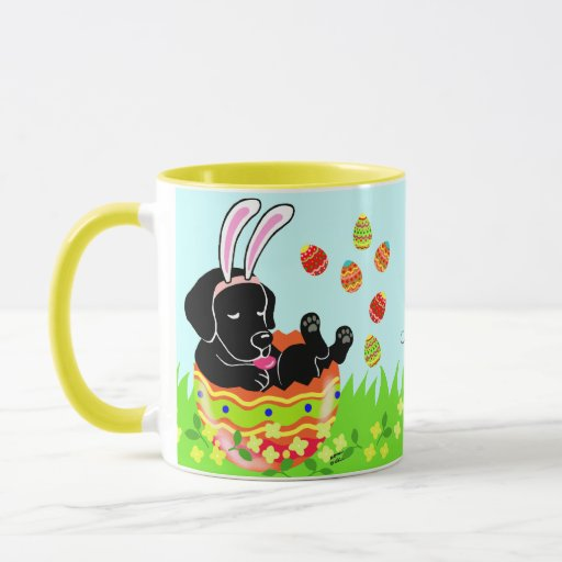 Personalized Easter Egg Black Labrador Cartoon Mug