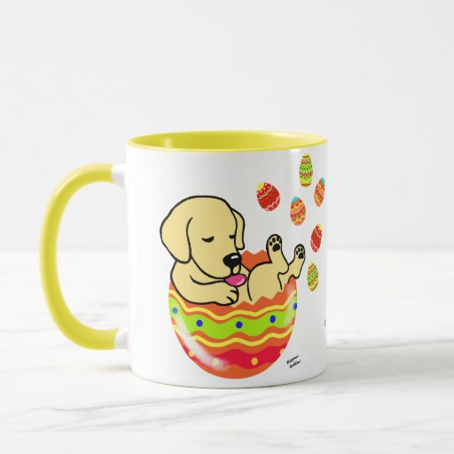 Personalized Easter Egg Yellow Labrador Cartoon Mug