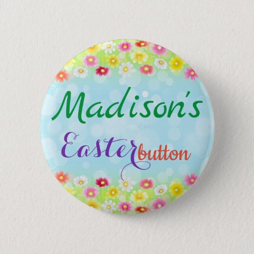Personalized Easter Flower Button Name Tag Pin