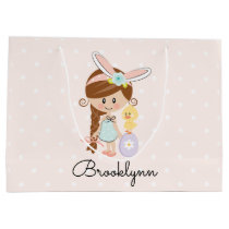 Personalized Easter Gift Bag Bunny Ears Brunette
