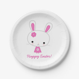 Personalized Easter Paper Plates With Pink Bunny