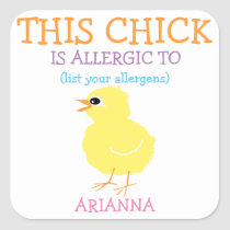 Personalized Easter Yellow Chick Allergy Alert Square Sticker