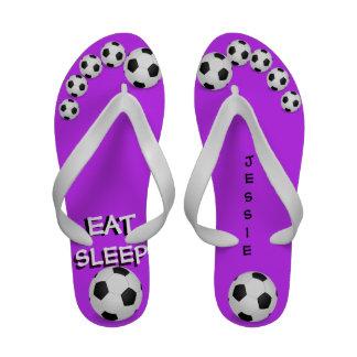 Personalized Eat Sleep Soccer Toes Flip Flops