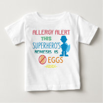 Personalized Egg Allergy Alert Superhero Boy Baby T-Shirt