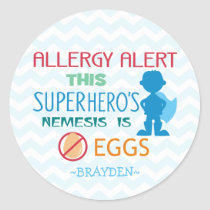 Personalized Egg Allergy Alert Superhero Boy Classic Round Sticker