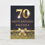 """Personalized Elegant 70th Birthday Gold Glitter Card<br><div class=""""desc"""">Elegant Stylish 70th birthday card. Design featured gold foil 70 on black background and glitter and a bow on the front. Add your message inside.</div>"""