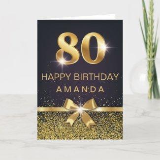 Personalized Elegant 80th Birthday Gold Glitter Card