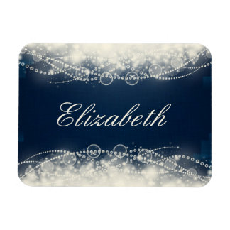 Personalized Elegant Abstract Lace and Pearls Magnet