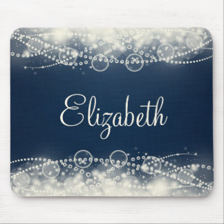 Personalized Elegant Abstract Lace and Pearls Mouse Pad