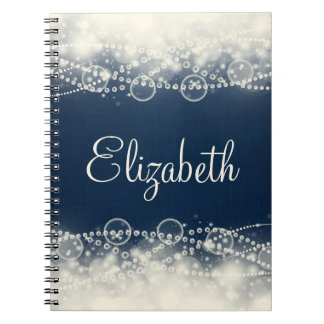 Personalized Elegant Abstract Lace and Pearls Spiral Notebooks