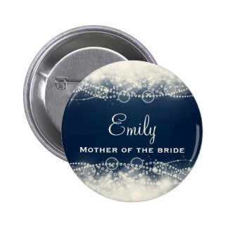 Personalized Elegant Abstract Lace and Pearls Pinback Button