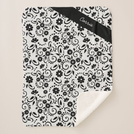 Personalized elegant black and white florals sherpa blanket