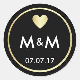 Personalized Elegant Black Gold & Heart Wedding Classic Round Sticker