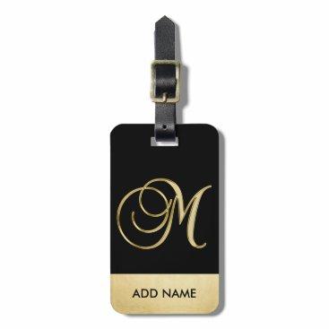 Personalized Elegant Black Gold Monogram Letter M Luggage Tag