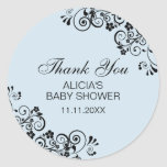 Personalized Elegant Blue Baby Shower Thank You Classic Round Sticker