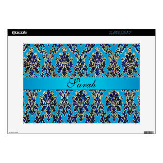 Personalized Elegant Blue Damask Laptop Skin