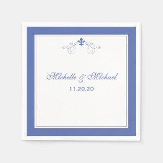 Personalized Elegant Blue Fleur de Lis Paper Napkin