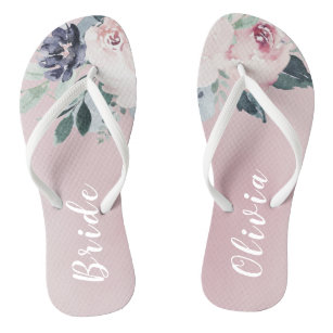 7f9db9eb8b8e Personalized elegant blush floral bride flip flops