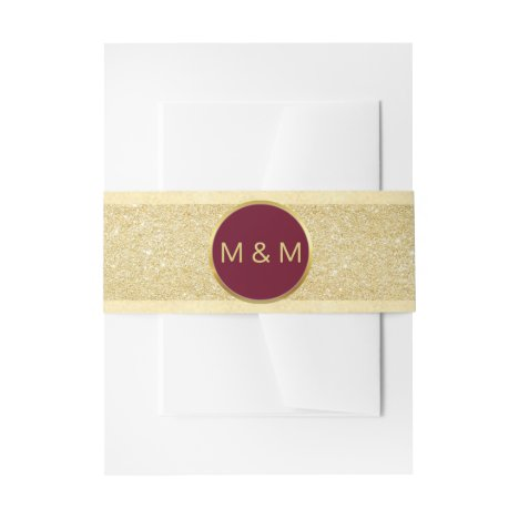 Personalized Elegant Burgundy Gold Glitter Wedding Invitation Belly Band