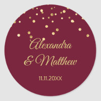 Personalized Elegant Burgundy Gold Wedding Classic Round Sticker