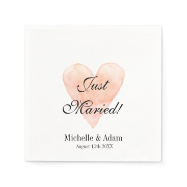 Valentines Themed Personalized elegant coral heart wedding napkins